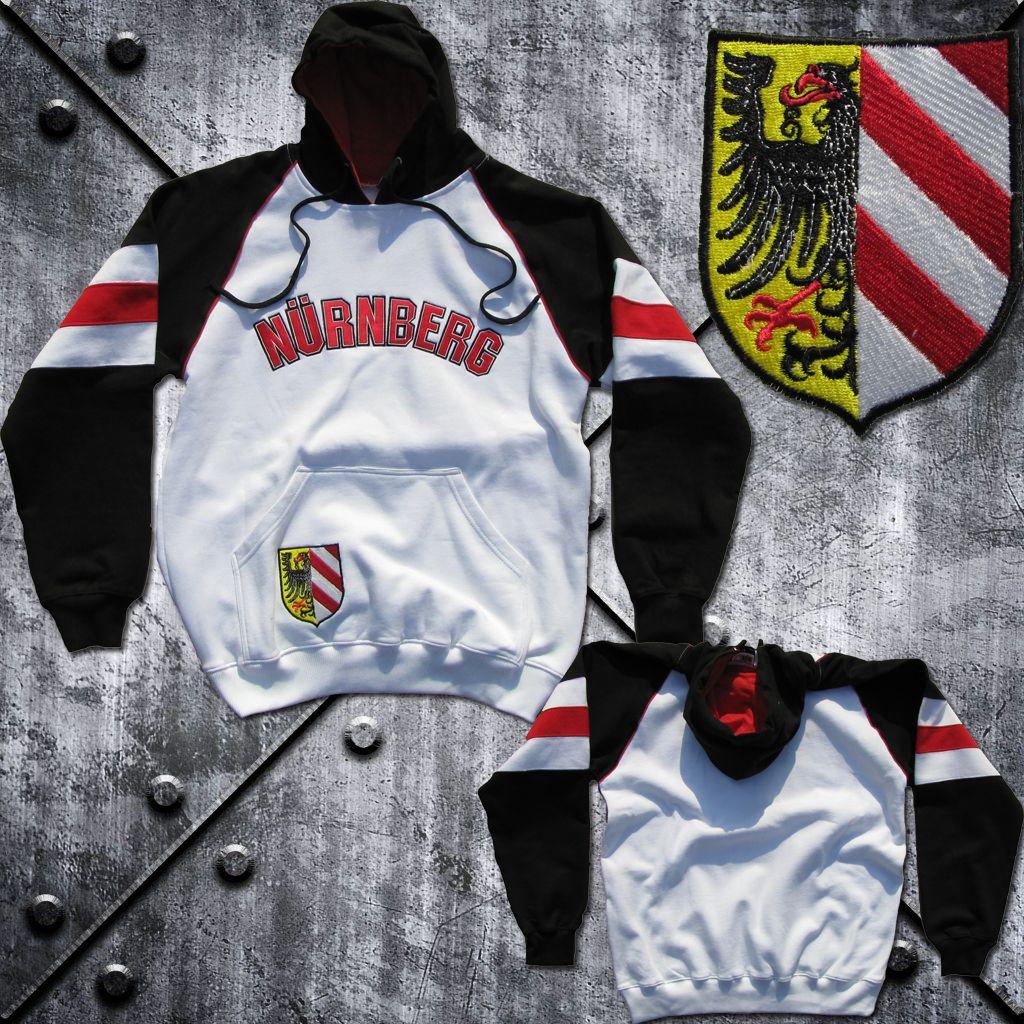 Kapuzenshirt 'Nürnberg' Stadtwappen Schwarz/Weiss/Rot