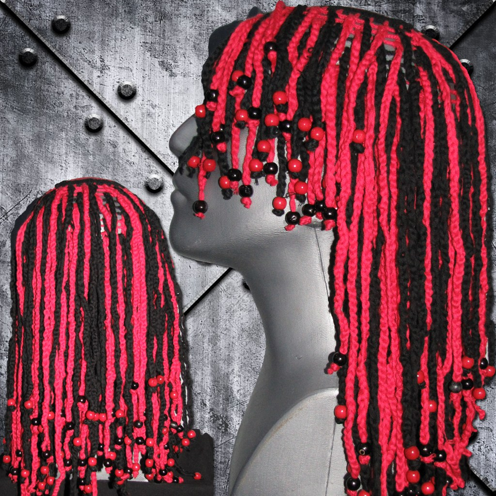 Rastafari Perücke rot/schwarz