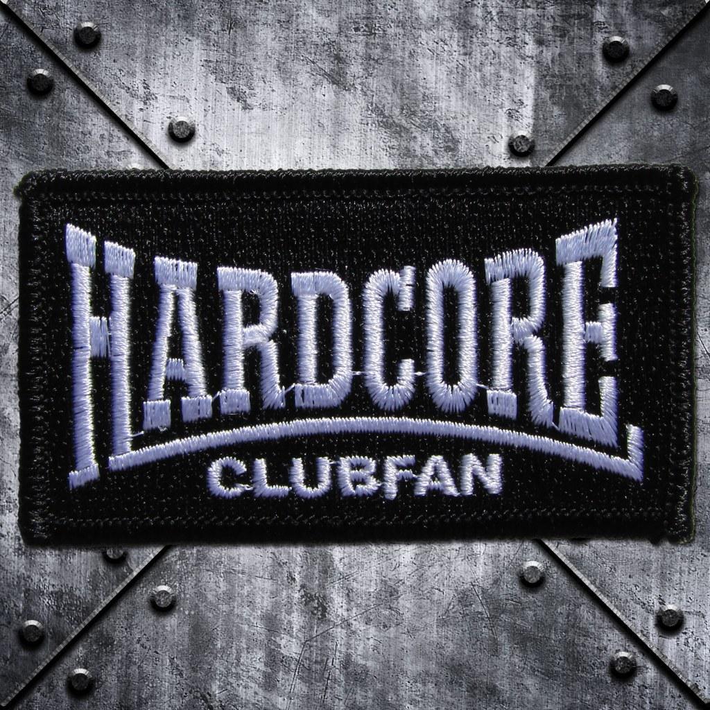 Aufnäher 'Hardcore Clubfan' Weisss/Schwarz