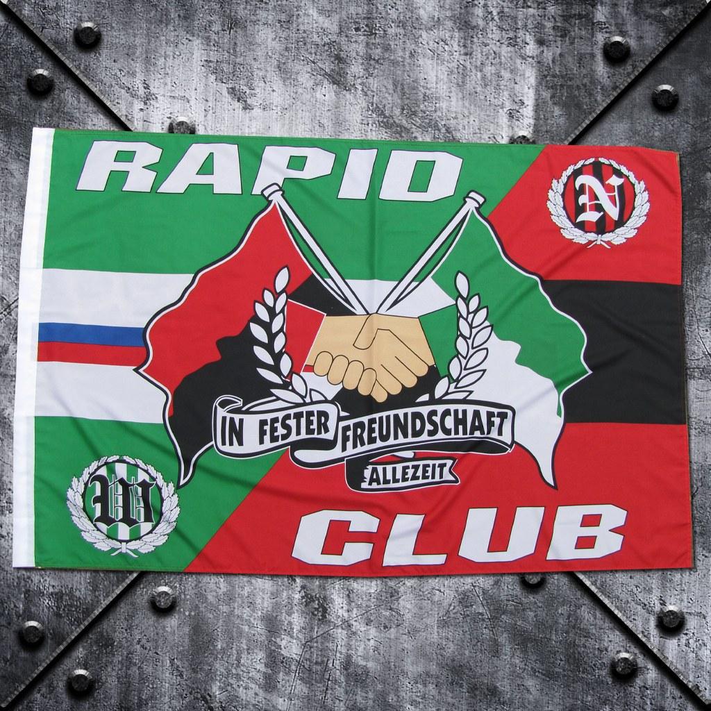 Fahne 'Freundschaft Club / Rapid'