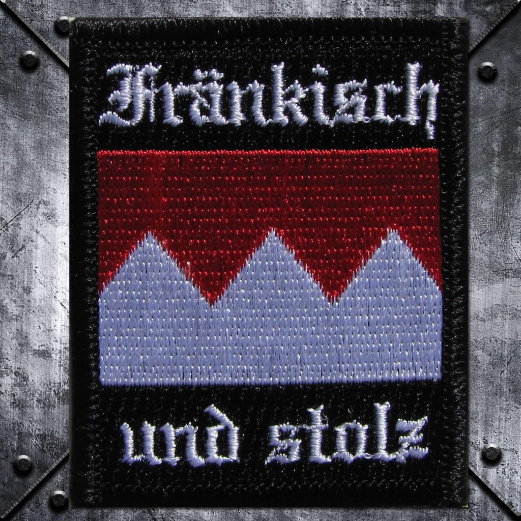 Aufnäher 'Fränkisch und stolz' Schwarz/Weiss/Rot