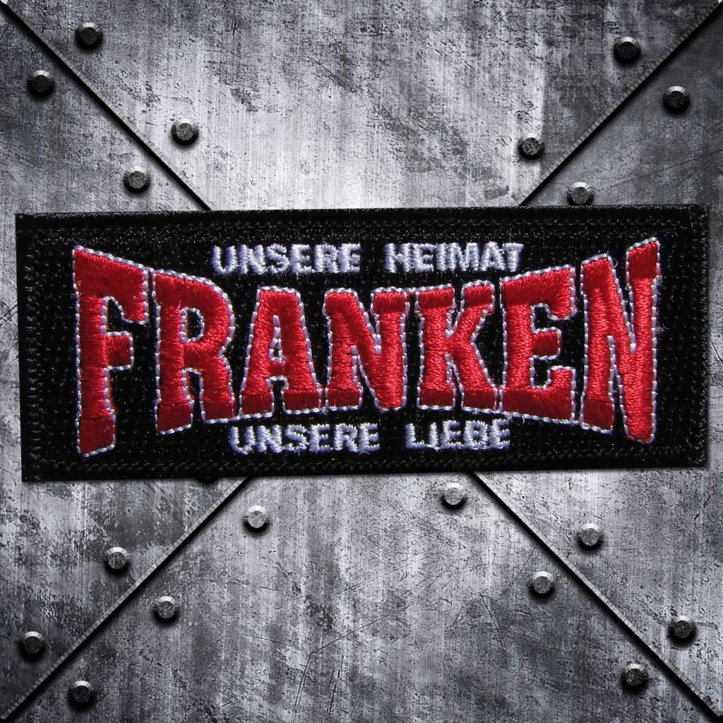 Aufnäher 'Franken Unsere Heimat Unsere Liebe' Schwarz/Rot/W