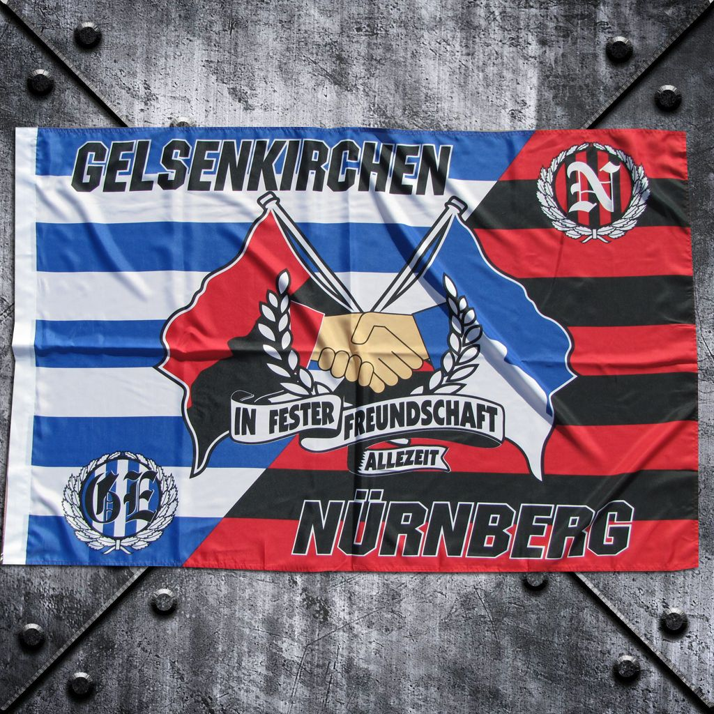 Fahne 'Nürnberg + Gelsenkirchen' balkenstyle