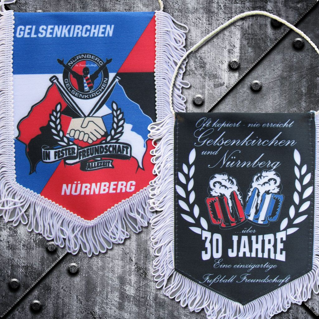 Freundschaftswimpel 'Nürnberg und Gelsenkirchen' 30 Jahre