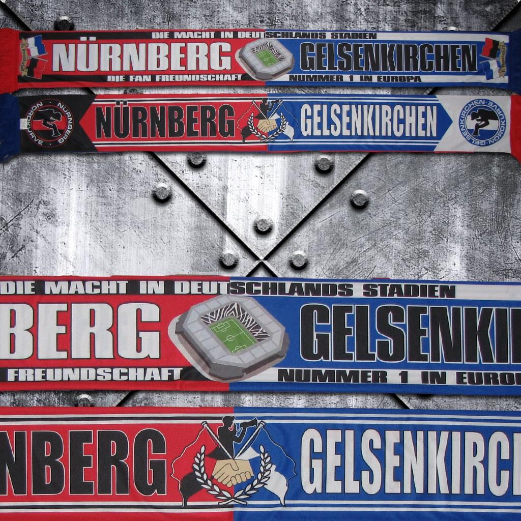 Polyester-Schal 'Fan Freundschaft Nürnberg - Gelsenkirchen'