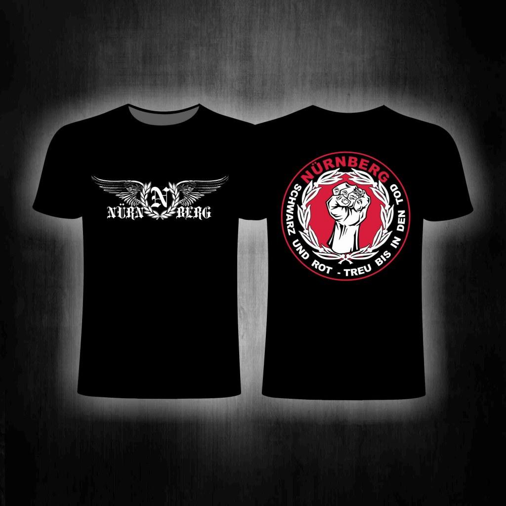 T-Shirt beidseitig bedruckt 'N' im Lorbeerkranz + Adlerschwingen