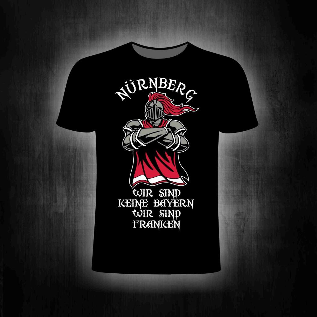 T-Shirt einseitig bedruckt  Wir sind keine Bayern  Rittermotiv