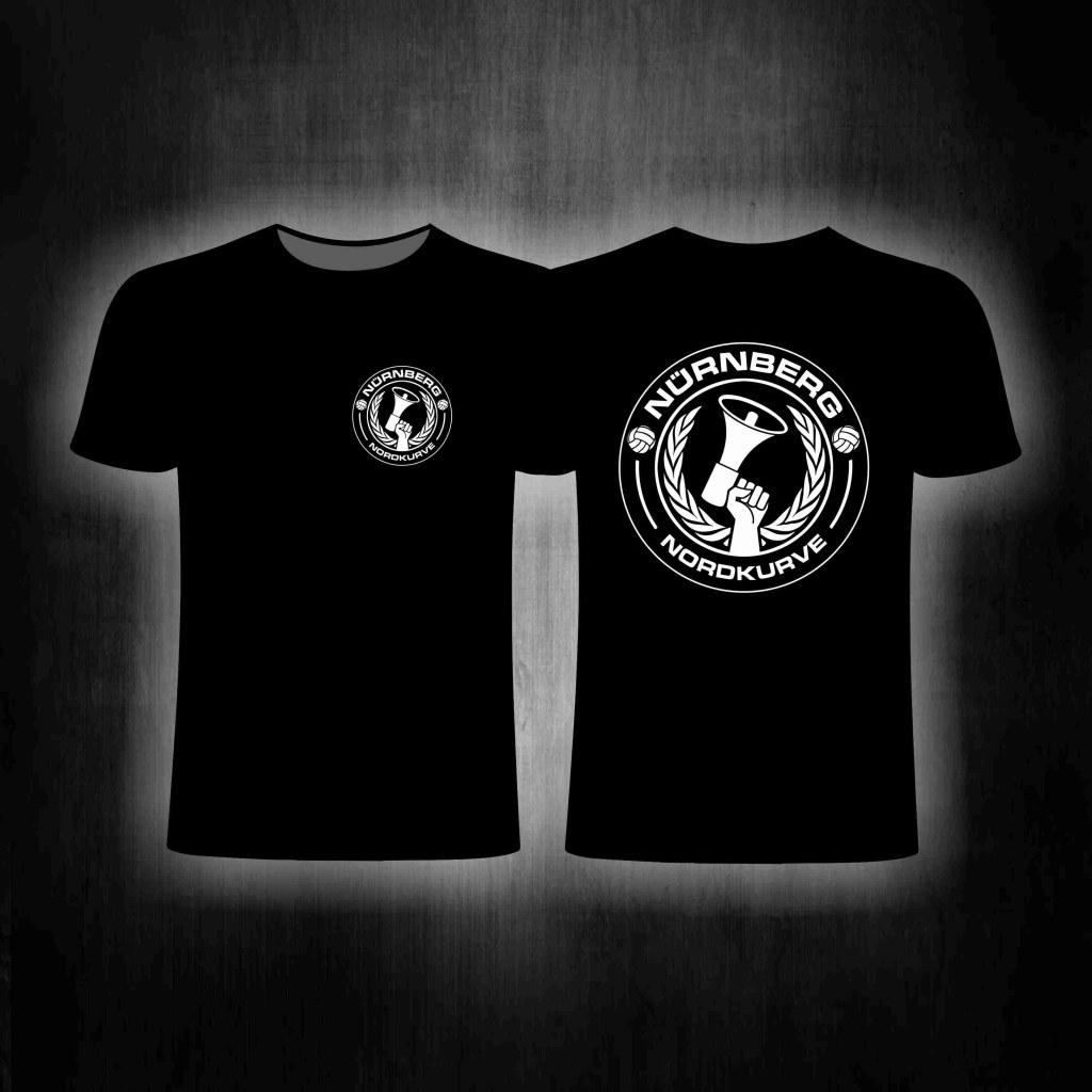 T-Shirt beidseitig bedruckt Nordkurve mit Megaphone und Lorbeerk