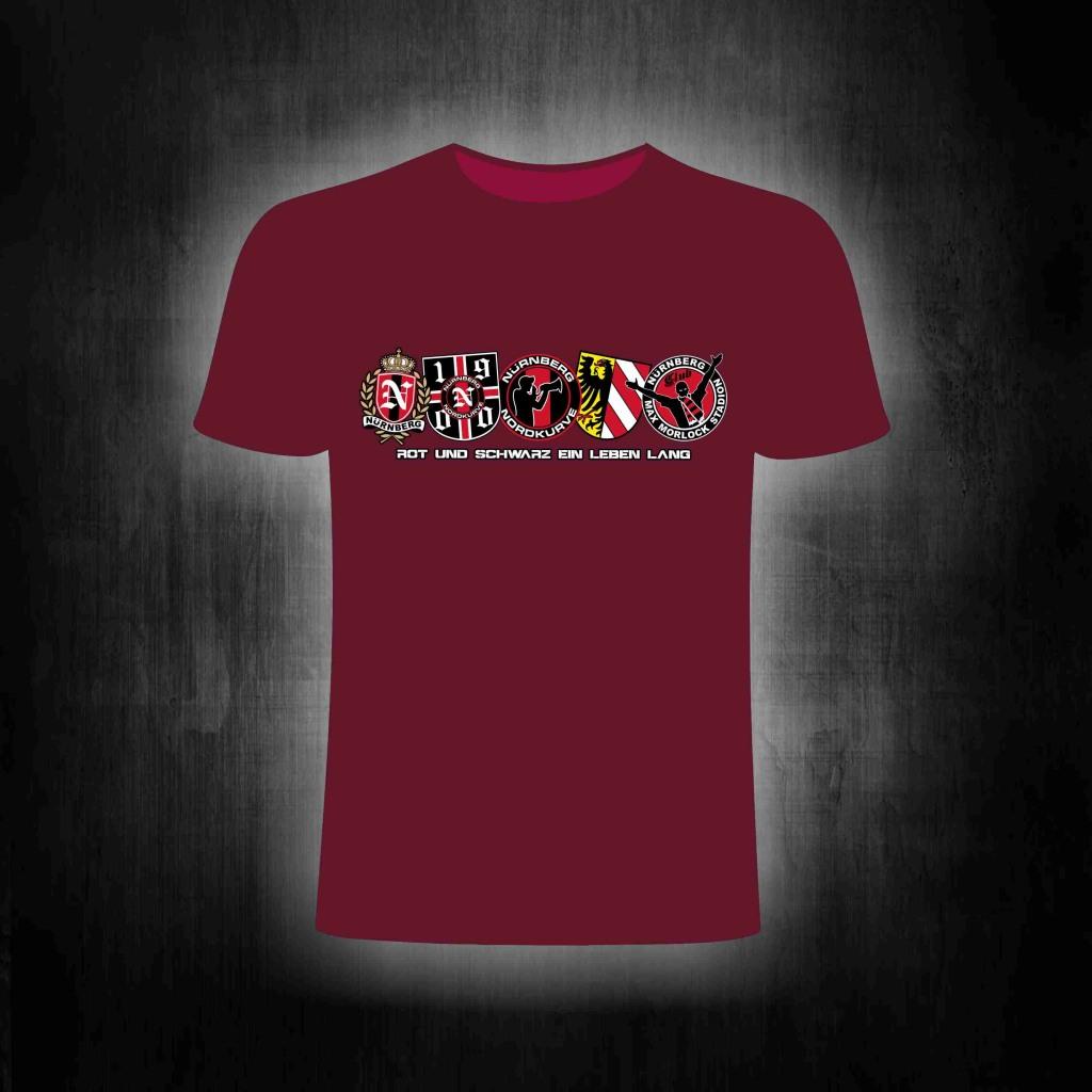 T-Shirt einseitig bedruckt  5 Logos Rot und Schwarz ein Leben la