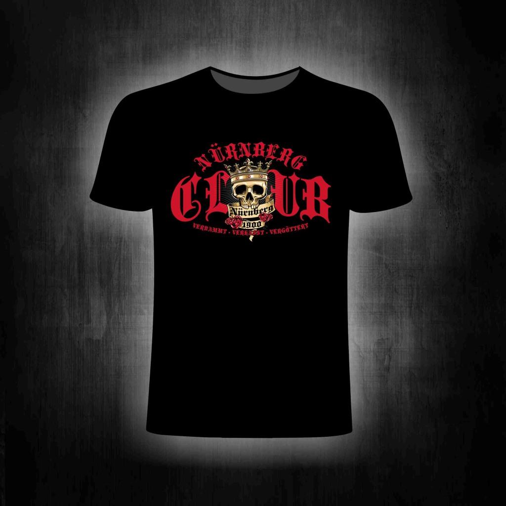 T-Shirt einseitig bedruck Club Skull verdammt verhasst vergötte