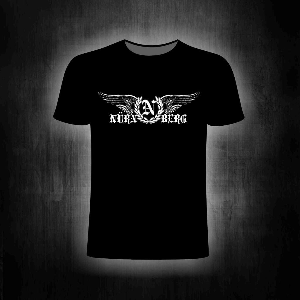 T-Shirt einseitig bedruckt  Nürnberg mit Flügeln und Lorbeerkr
