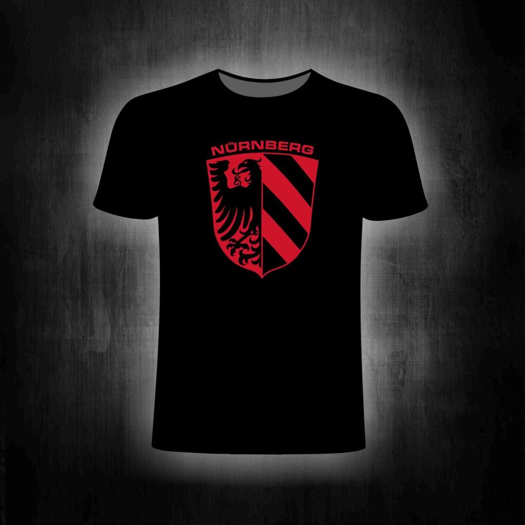T-Shirt einseitig bedruckt Stadtwappen Nürnberg rot-schwarz