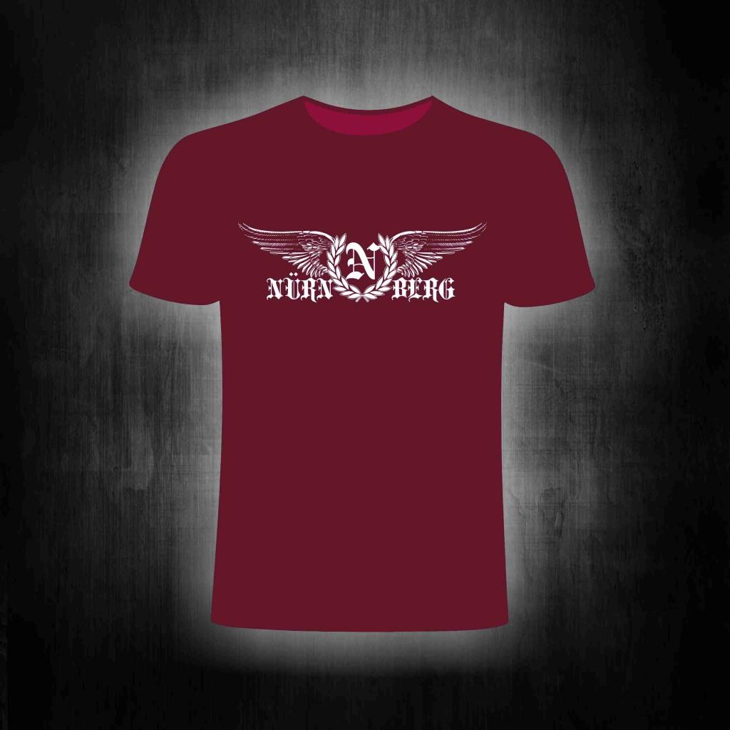T-Shirt einseitig bedruckt Nürnberg mit Flügeln