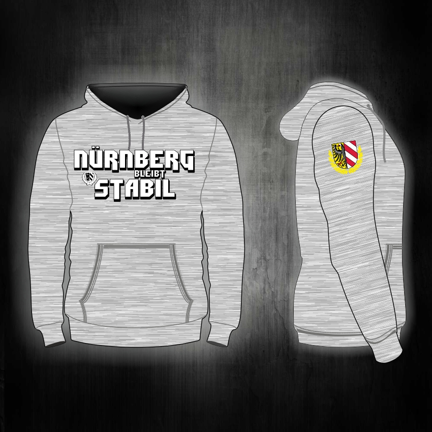 Kapuzen Sweatshirt Front + Ärmeldruck  - Nürnberg bleibt stabi