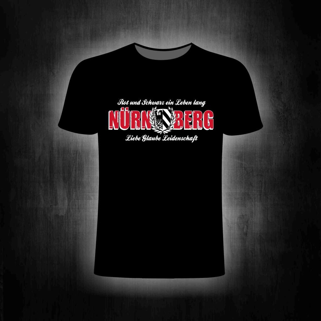 T-Shirt einseitig bedruckt  Nürnberg Rot und Schwarz ein Leben