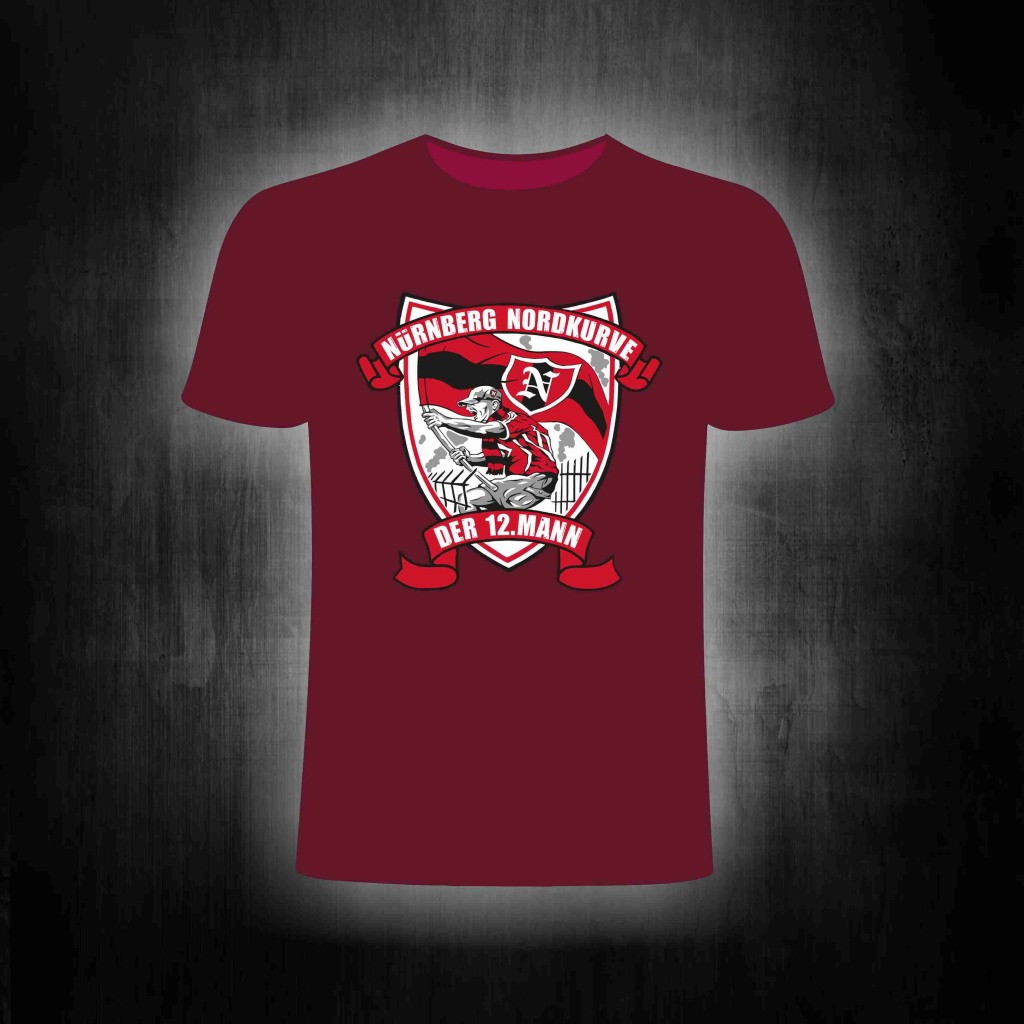 T-Shirt einseitig bedruckt der 12. Mann  weinrot