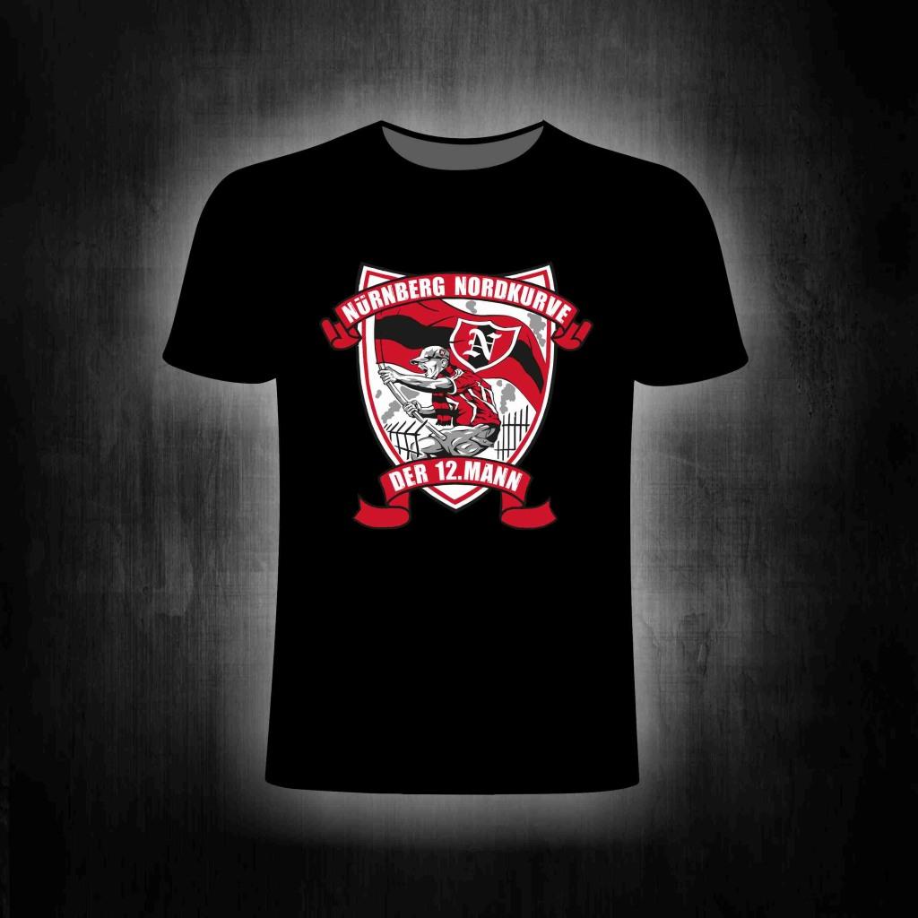 T-Shirt einseitig bedruckt der 12. Mann  schwarz
