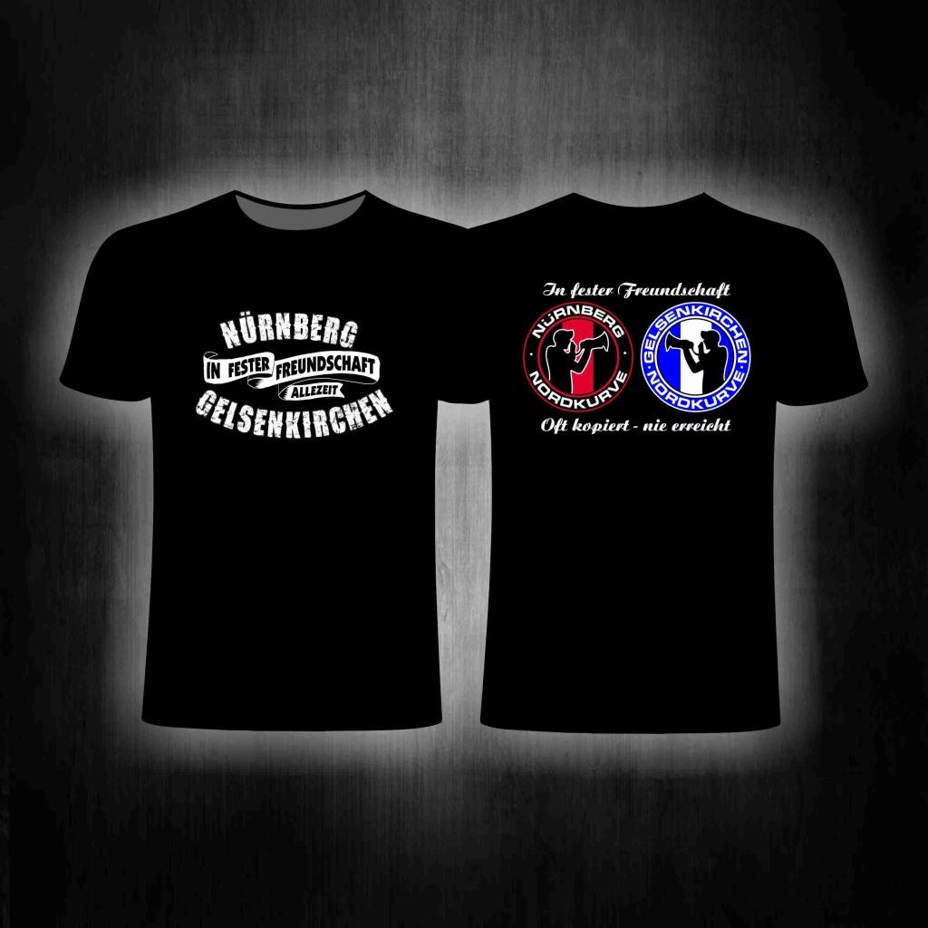 T-Shirt  beidseitig bedruckt Nürnberg Gelsenkirchen' in fester
