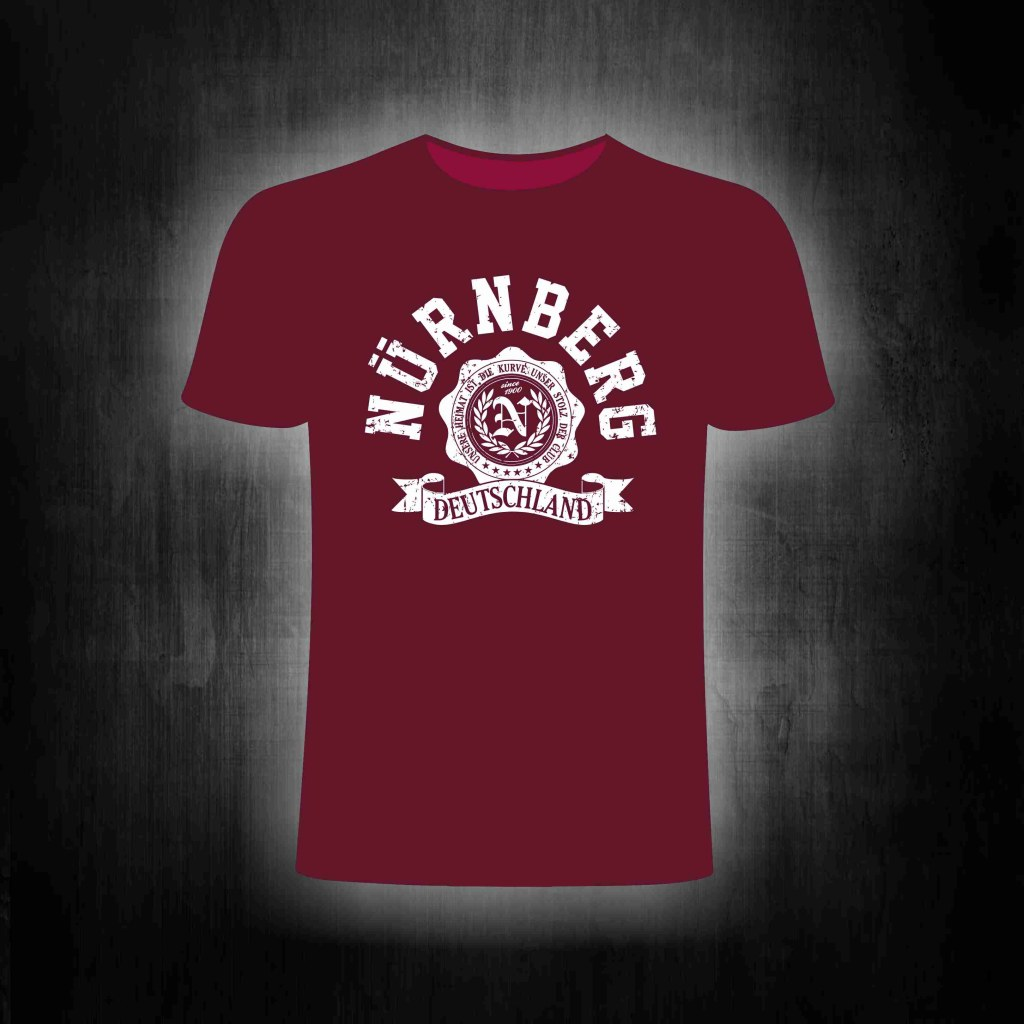 T-Shirt einseitig bedruckt College Style vintage weinrot