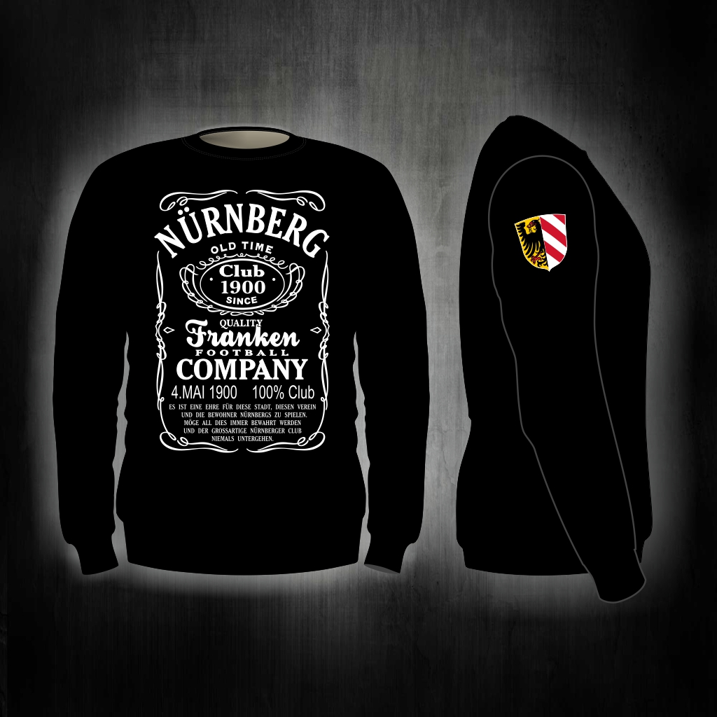 Sweat Shirt  Front + Ärmeldruck   Old Time   schwarz