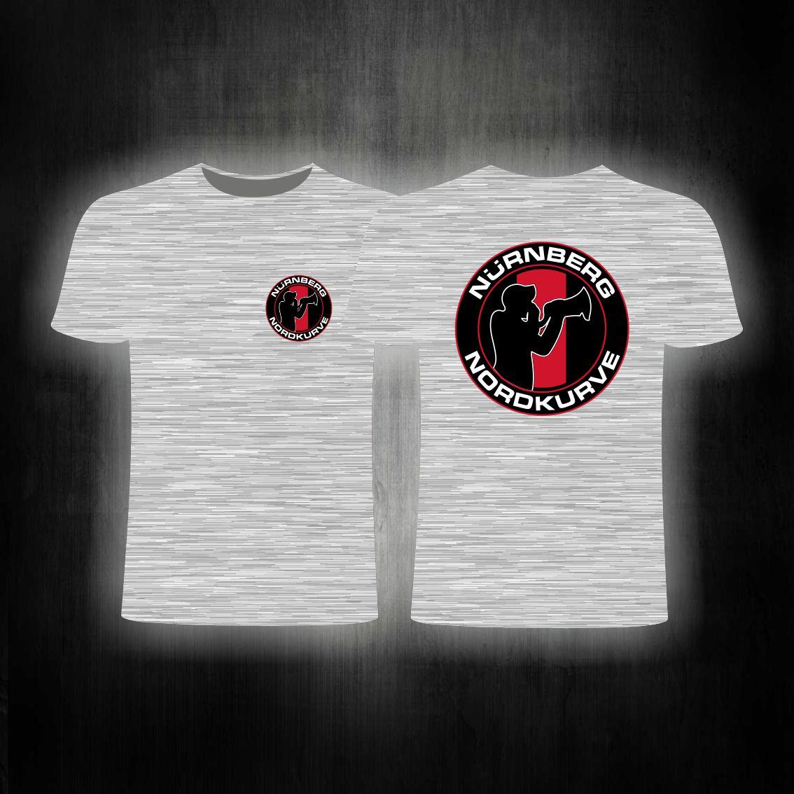 T-Shirt beidseitig bedruckt Nordkurve' Megaphonmann  grau melier