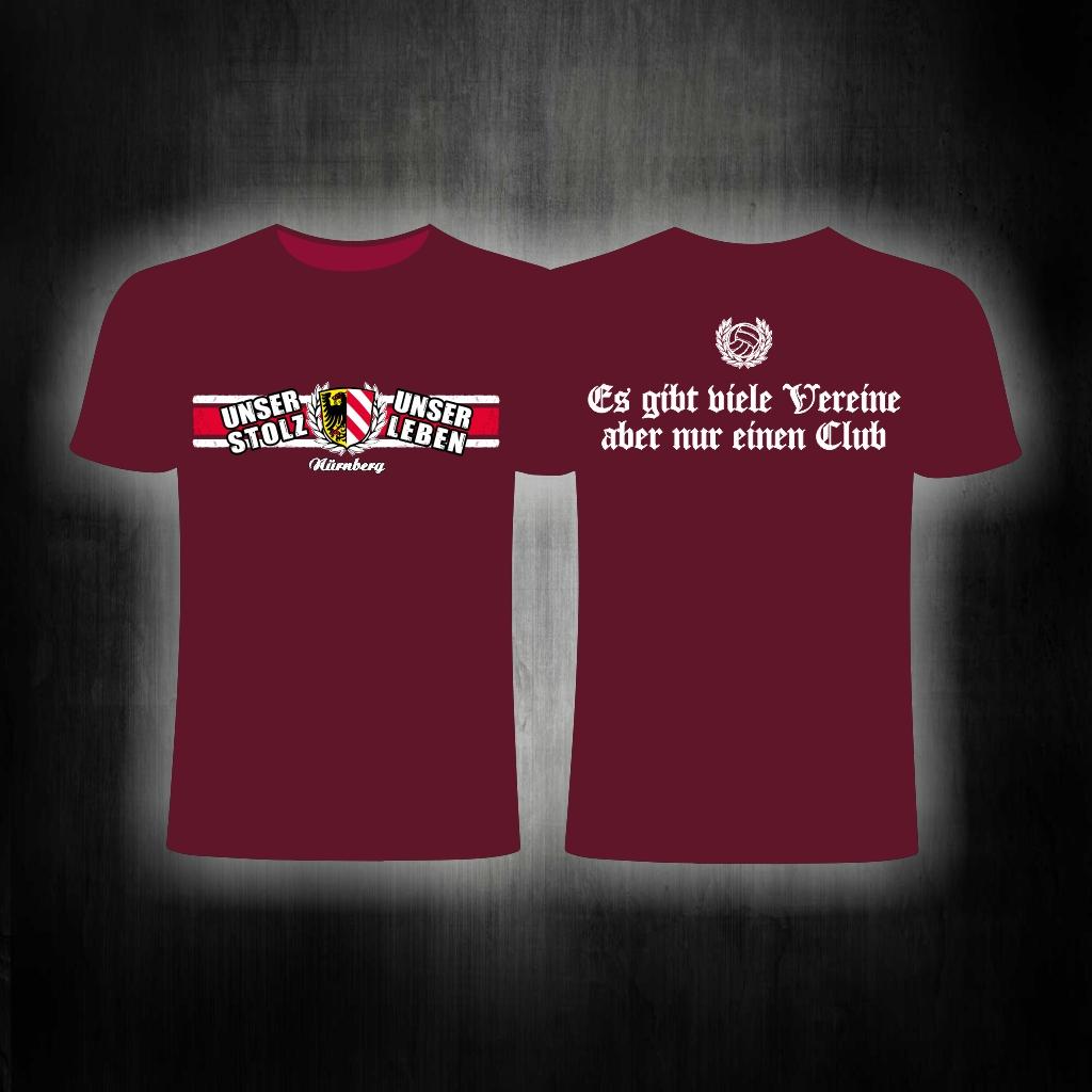 T-Shirt beidseitig bedruckt   Es gibt viele Vereine    weinrot