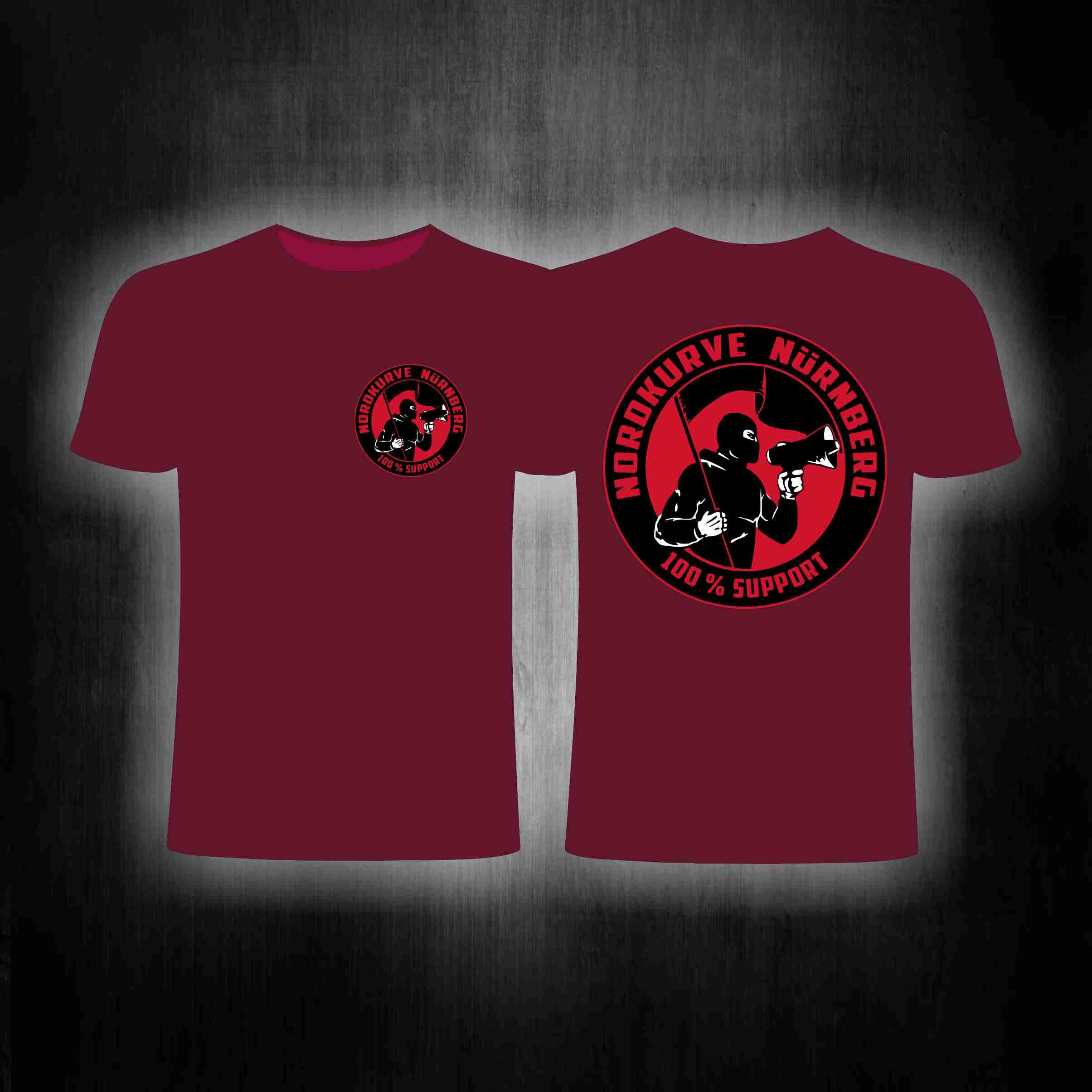 T-Shirt beidseitig bedruckt - 100% Support Nordkurve weinrot