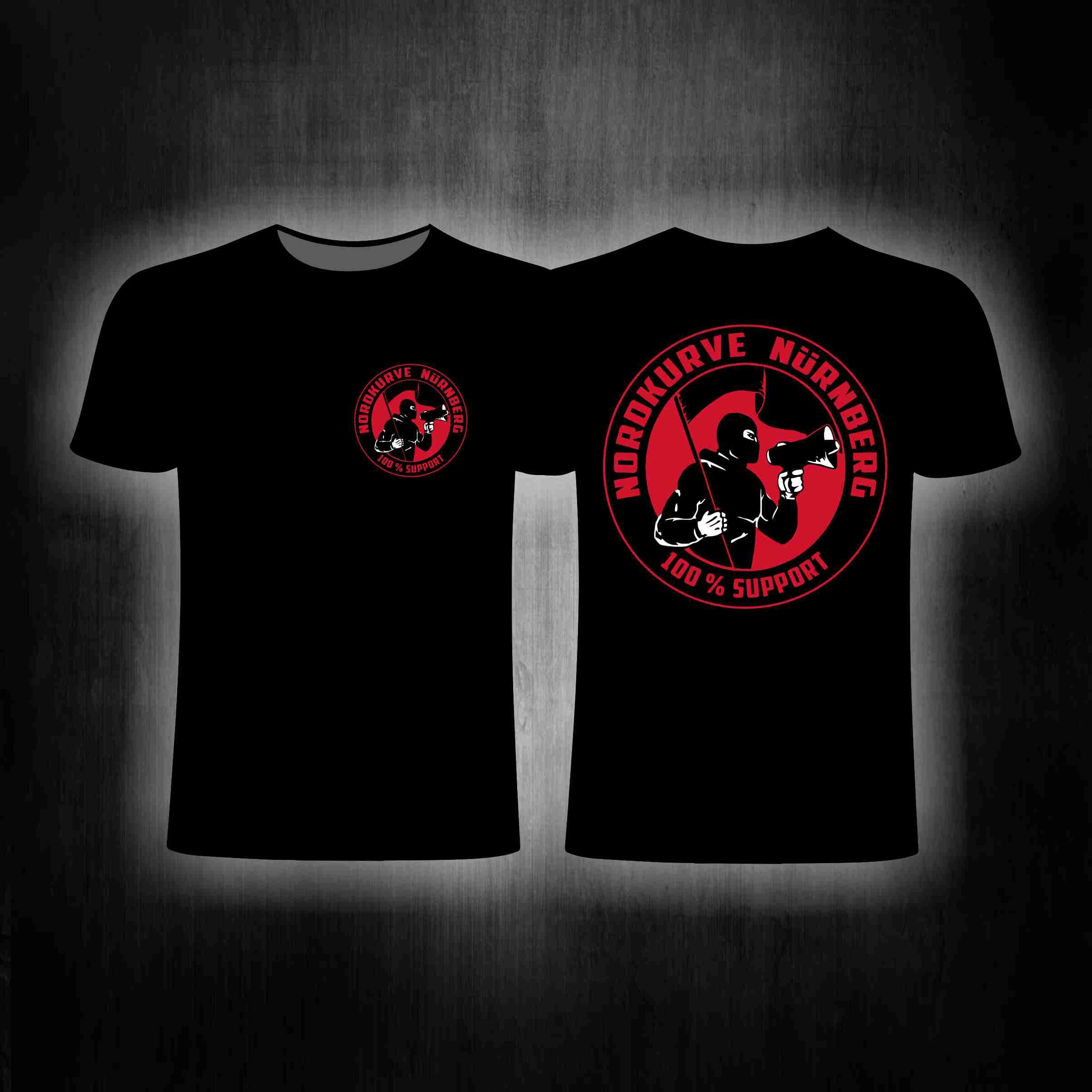 T-Shirt einseitig bedruckt  100% Support Nordkurve schwarz