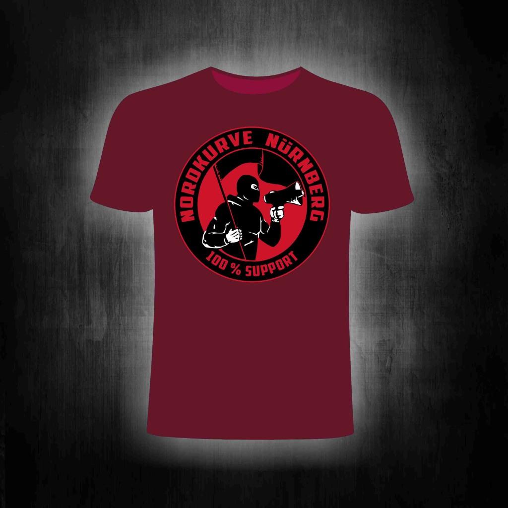 T-Shirt einseitig bedruckt  100% Support Nordkurve weinrot