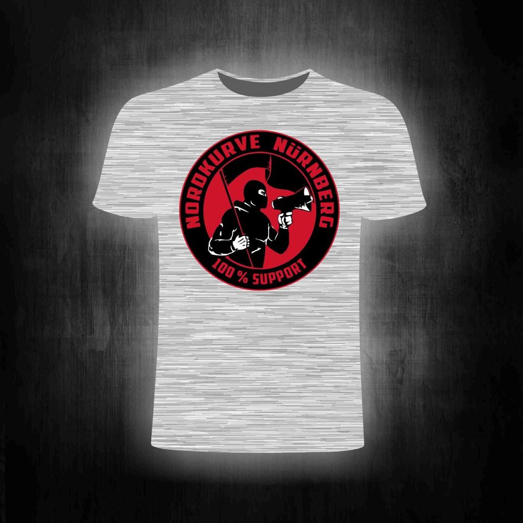 T-Shirt einseitig bedruckt  100% Support Nordkurve grau meliert
