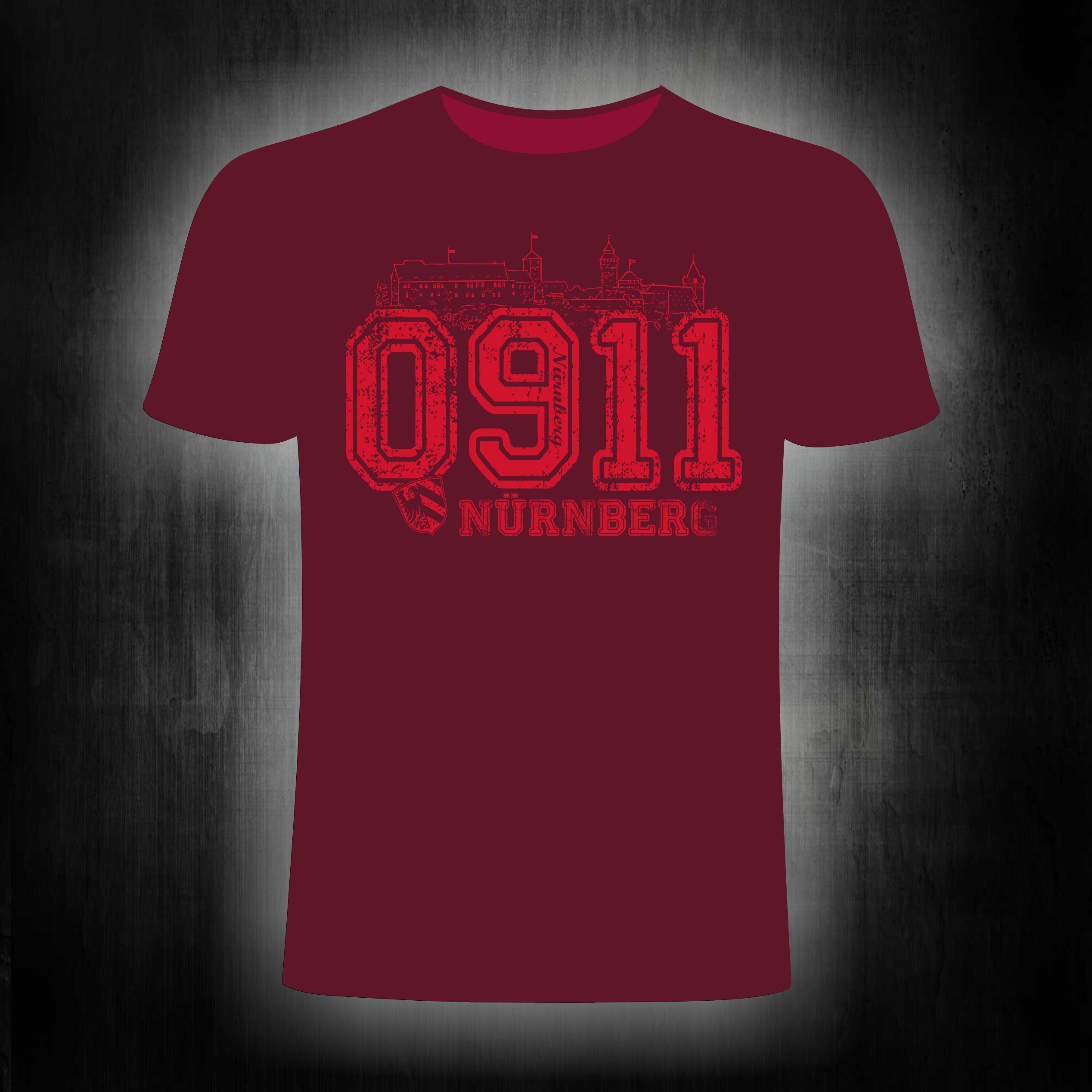 T-Shirt einseitig bedruckt  0911 vintage weinrot