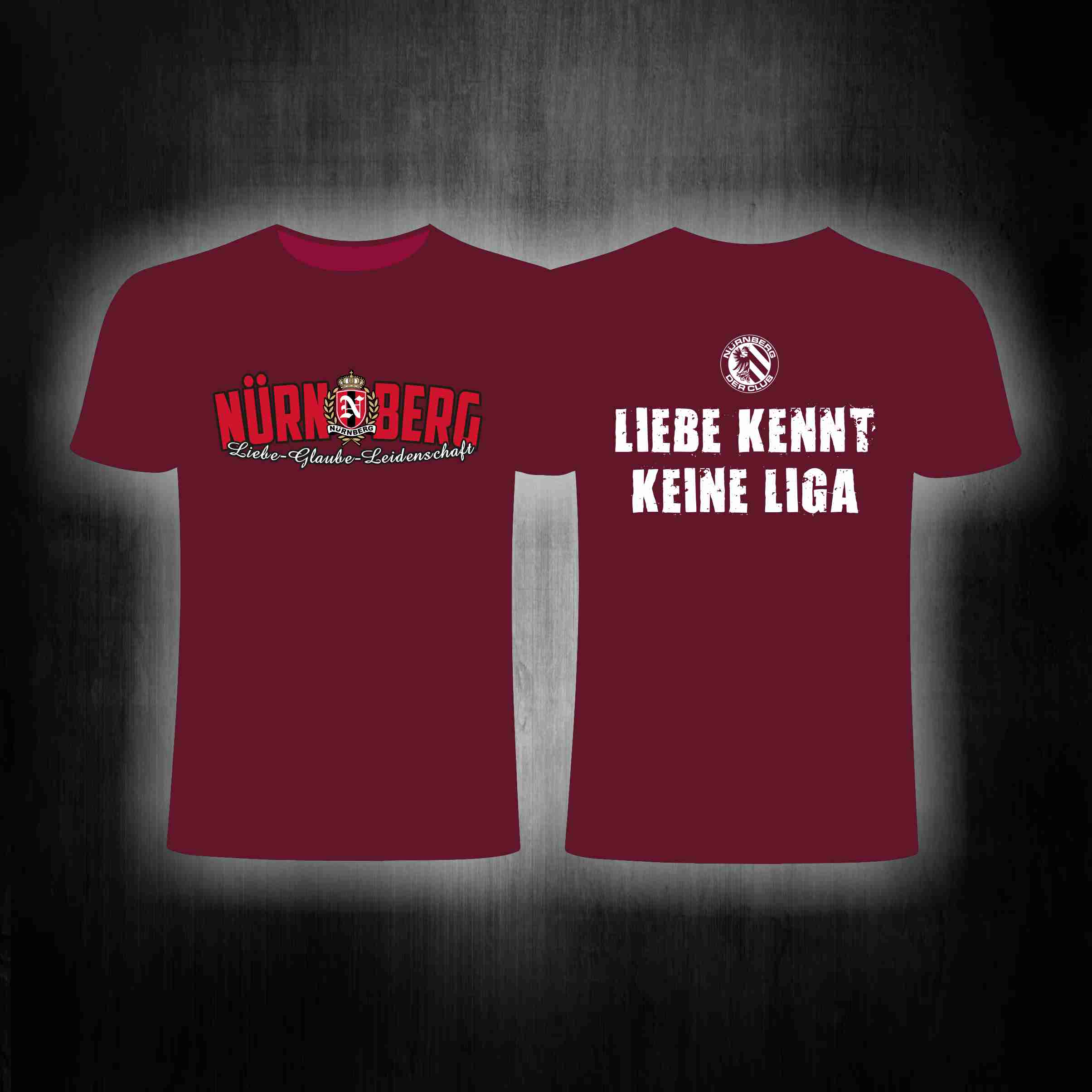 T-Shirt beidseitig bedruckt - Liebe kennt keine Liga   weinrot