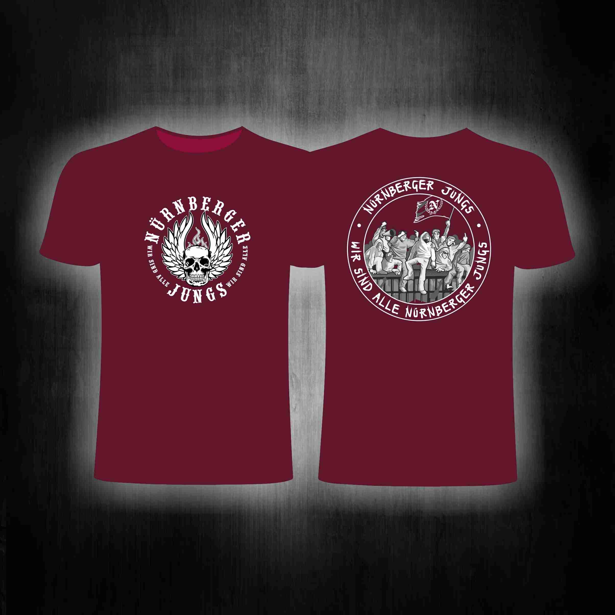 T-Shirt beidseitig bedruckt 'Nürnberger Jungs'  weinrot