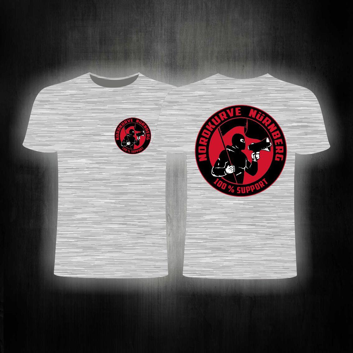 T-Shirt beidseitig bedruckt - 100% Support Nordkurve grau melier