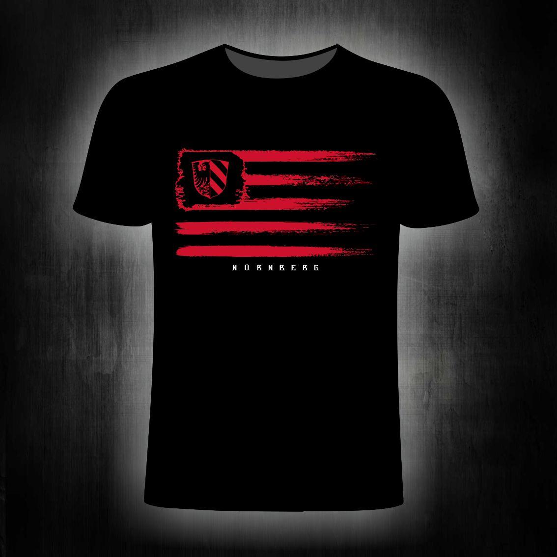 T-Shirt einseitig bedruckt  vintage Fahne schwarz