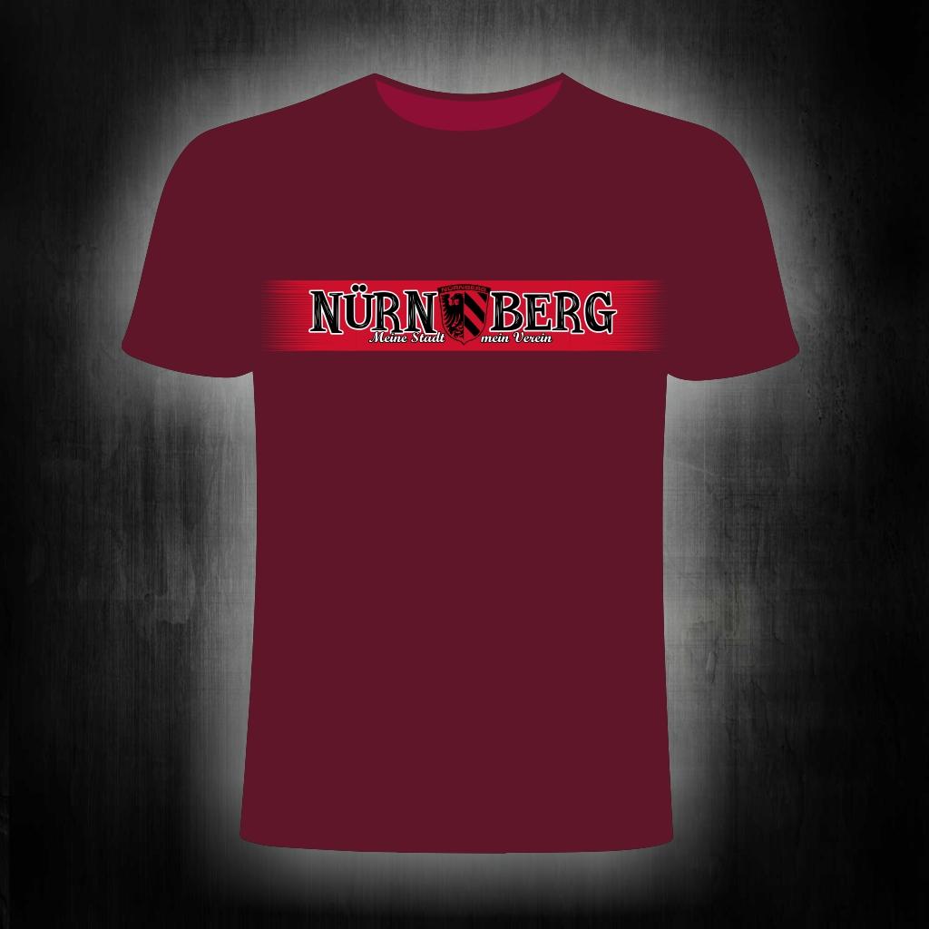 T-Shirt einseitig bedruckt  roter Streifen