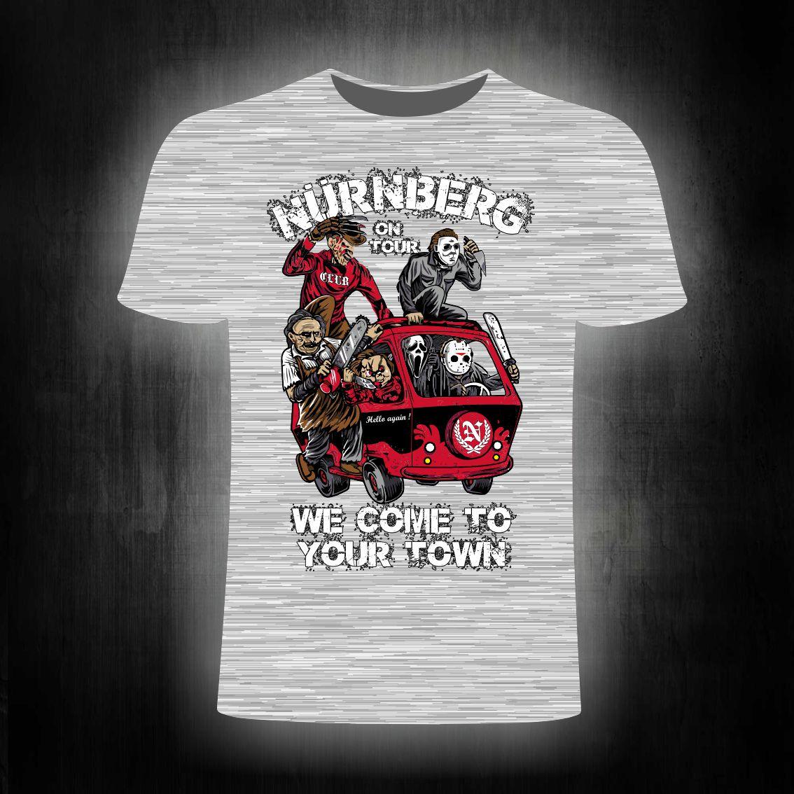 T-Shirt einseitig bedruckt  Monster on Tour  grau meliert