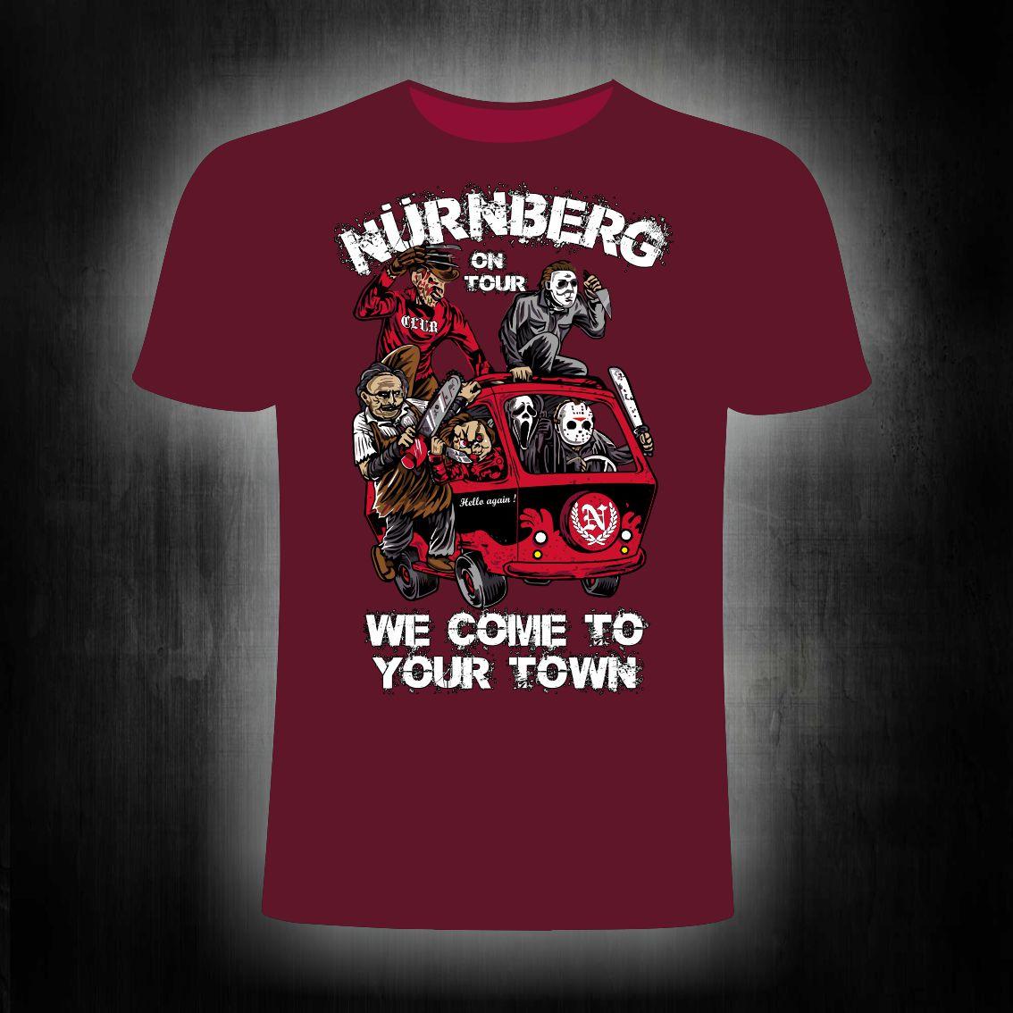 T-Shirt einseitig bedruckt  Monster on Tour  weinrot