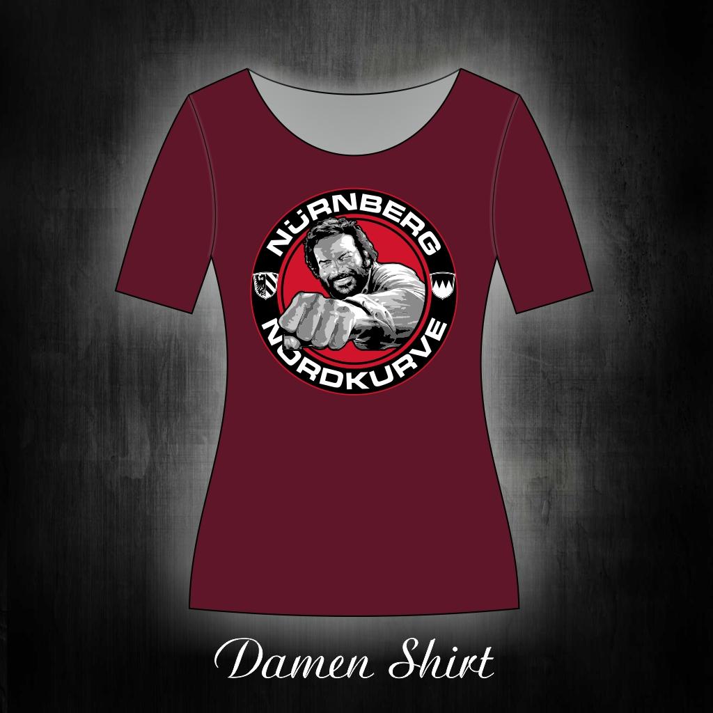 Damen T-Shirt einseitig bedruckt  Buddy weinrot