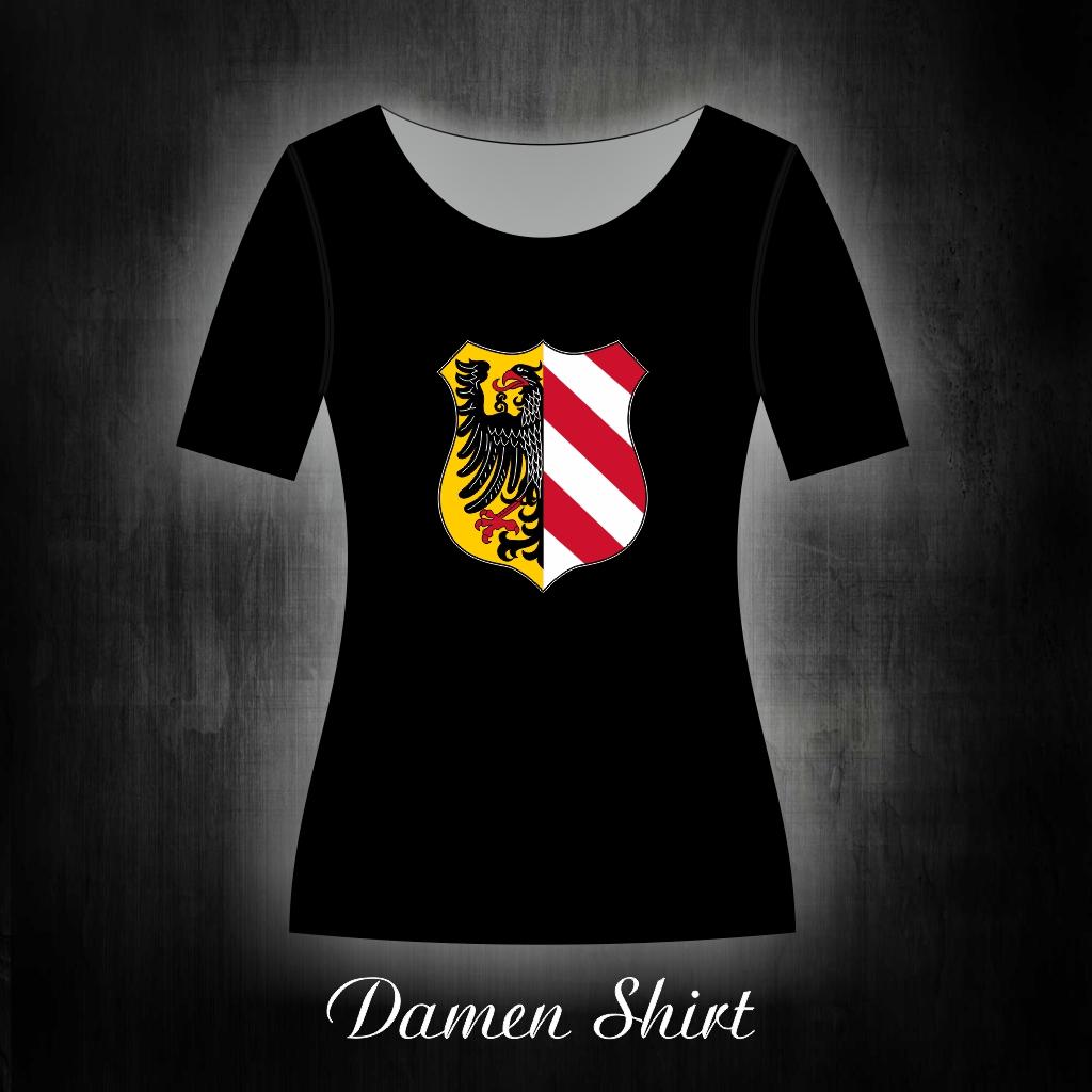 Damen T-Shirt einseitig bedruckt  Stadtwappen schwarz