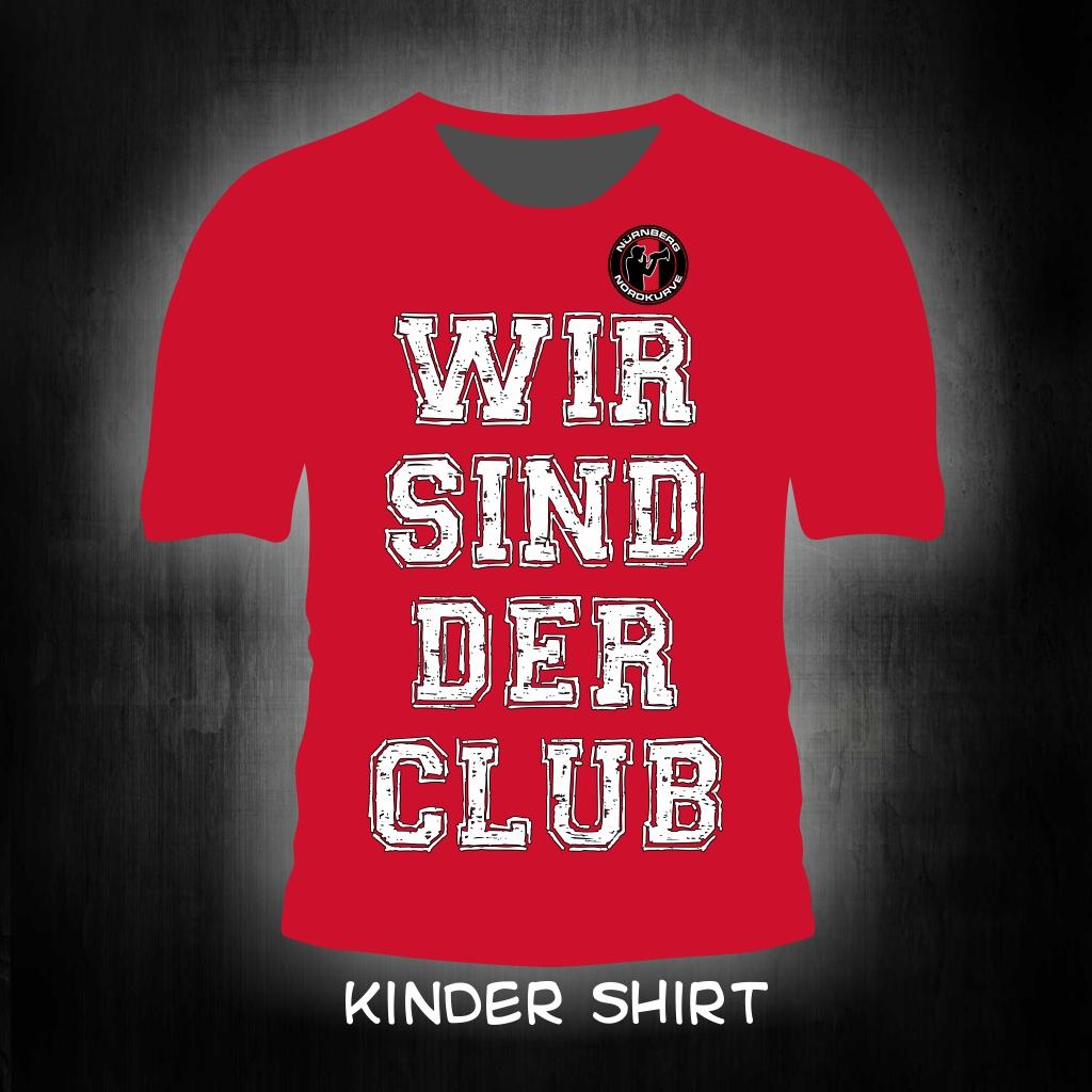 Kinder T-Shirt einseitig bedruckt  Wir sind der Club rotes Shirt