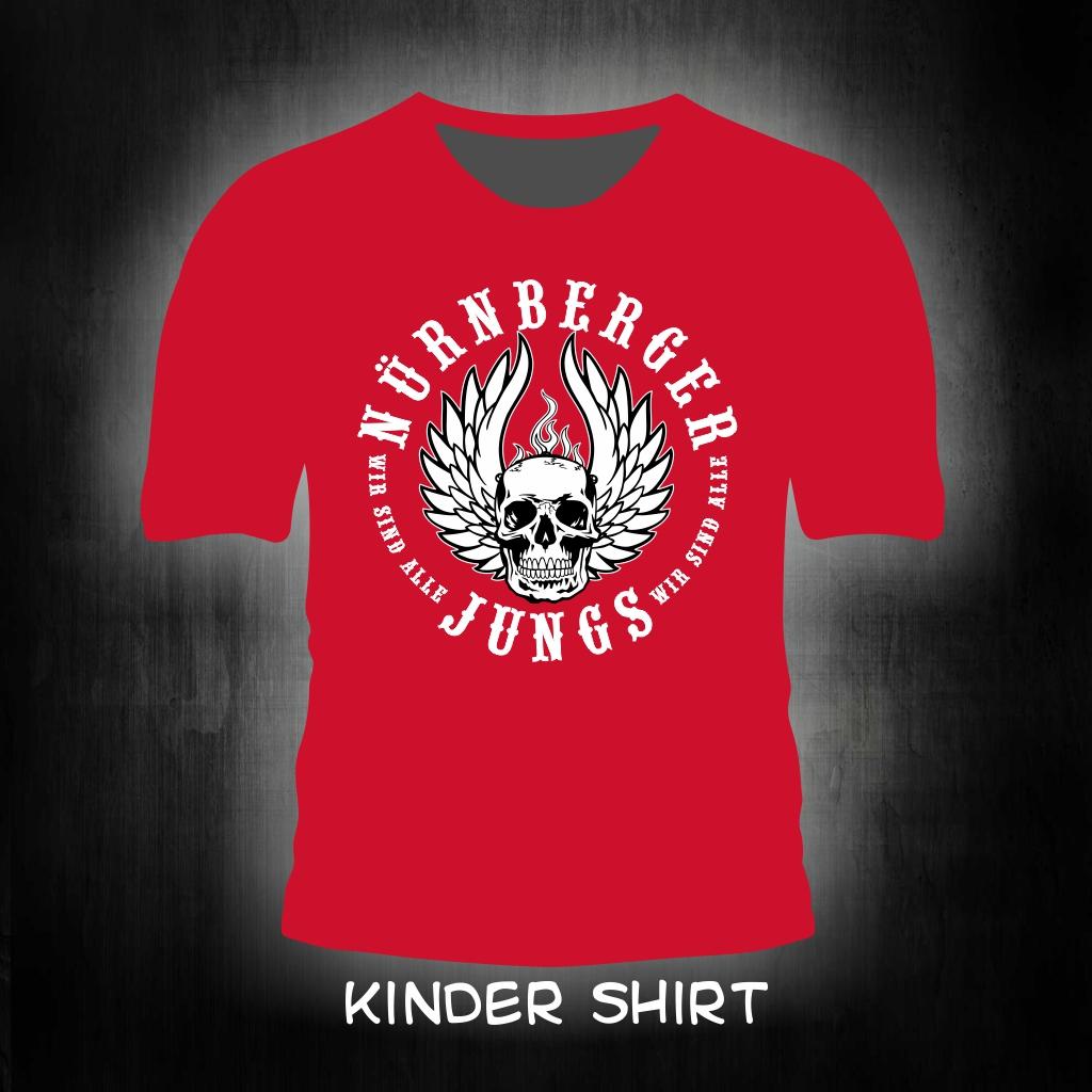 Kinder T-Shirt einseitig bedruckt  Nürnberger Jungs   rotes Shi