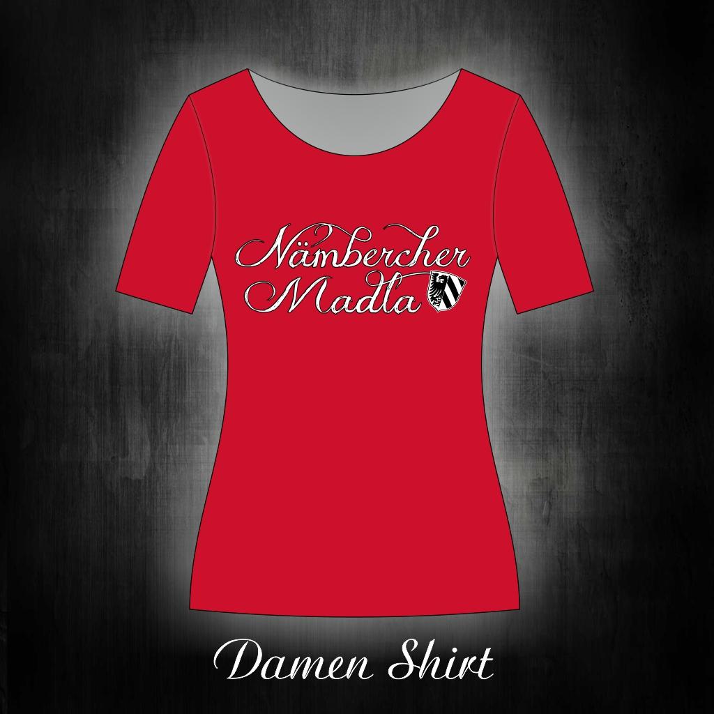 Damen T-Shirt einseitig bedruckt Nämbercher Madla  rot