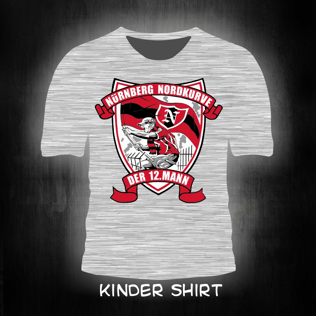 Kinder T-Shirt einseitig bedruckt der 12. Mann  grau meliert