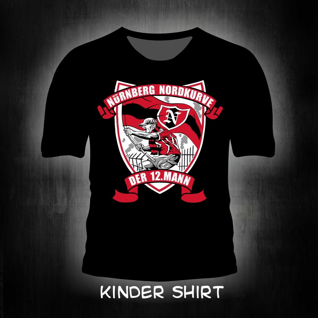 Kinder T-Shirt einseitig bedruckt der 12. Mann schwarz
