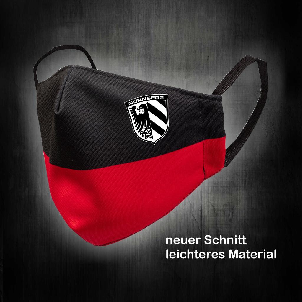 Mund und Nasenmaske schwarz - rot Stadtwappen neuer Schnitt
