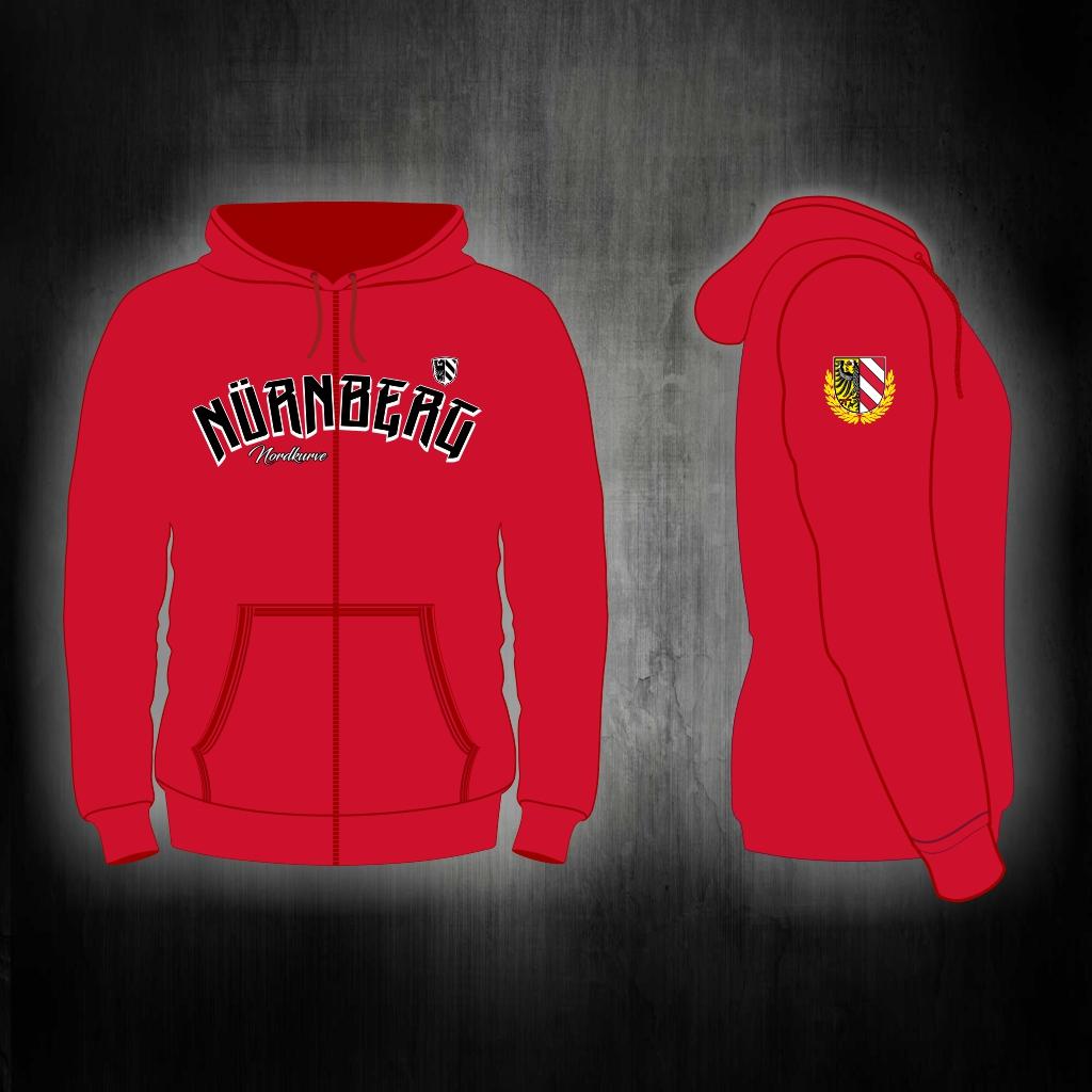 Kapuzen Sweatshirt Front + Ärmeldruck  mit Reißverschluss Nür