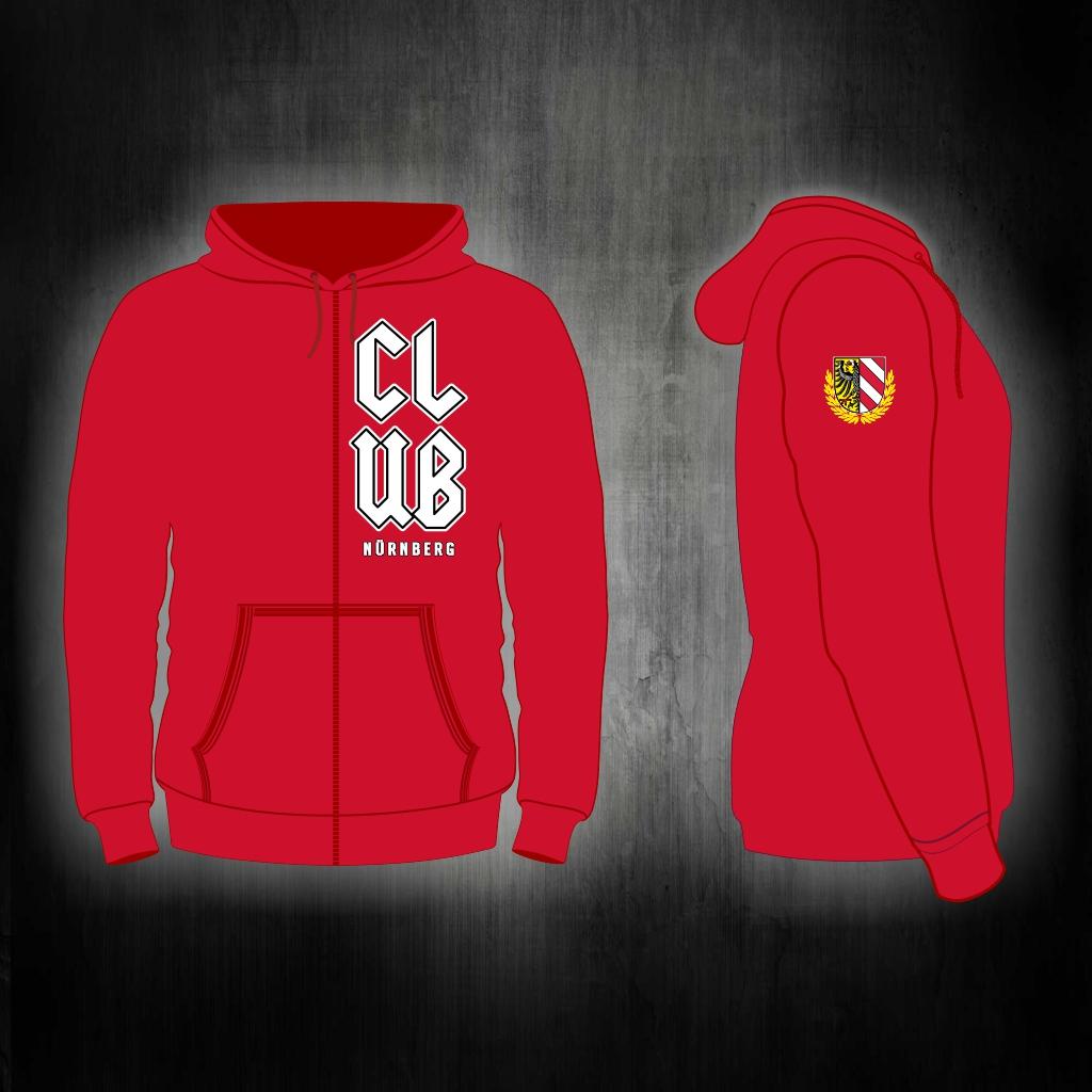 Kapuzen Sweatshirt Front + Ärmeldruck  - CLUB in rot  mit Reiß
