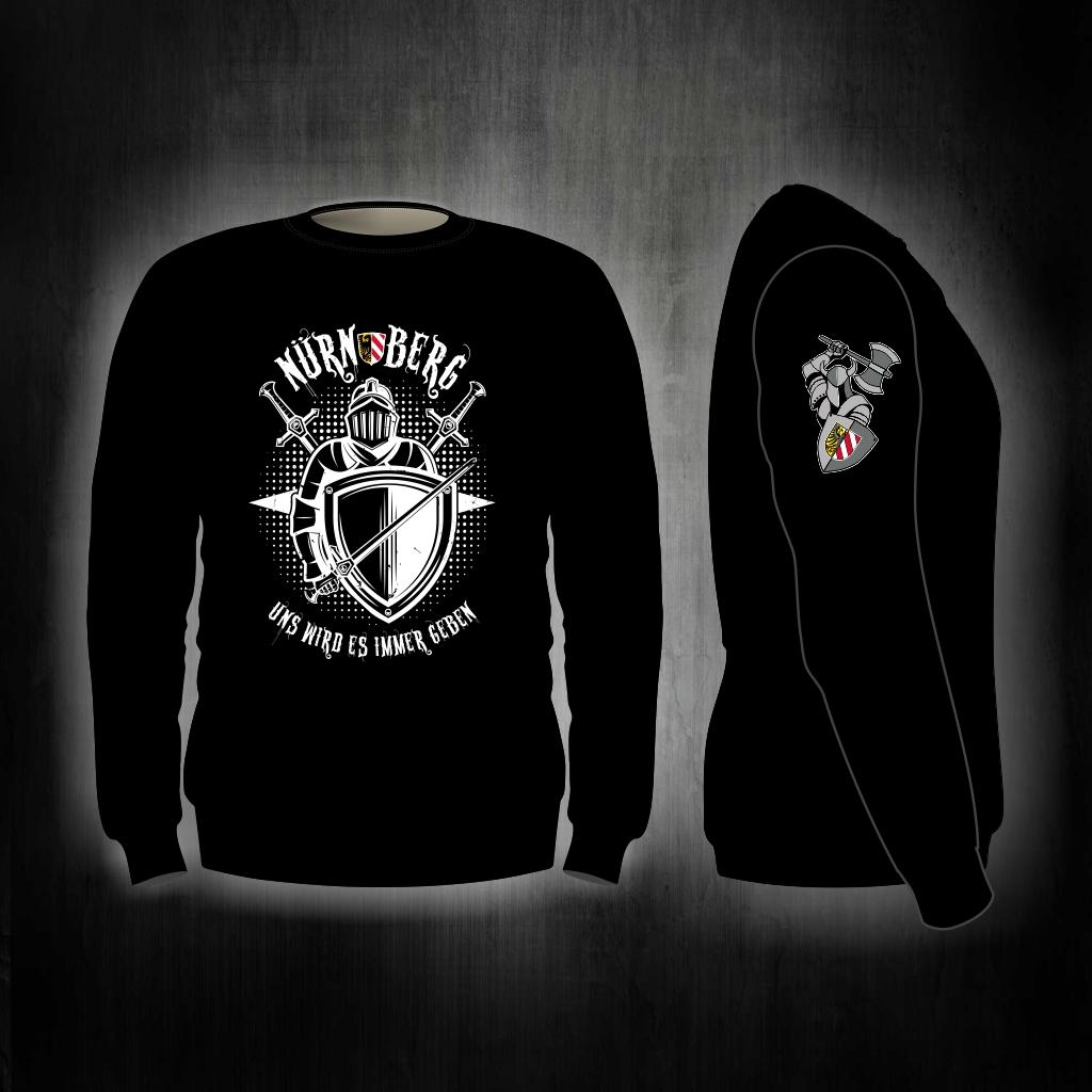 Sweat Shirt  Front + Ärmeldruck Uns wird es immer geben  Ritter