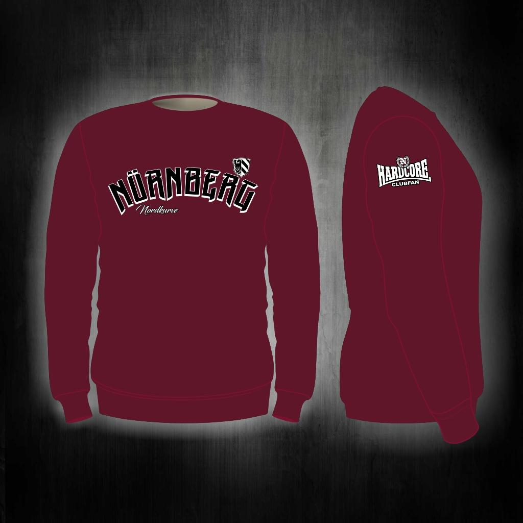 Sweat Shirt  Front + Ärmeldruck   Nürnberg Nordkurve  weinrot